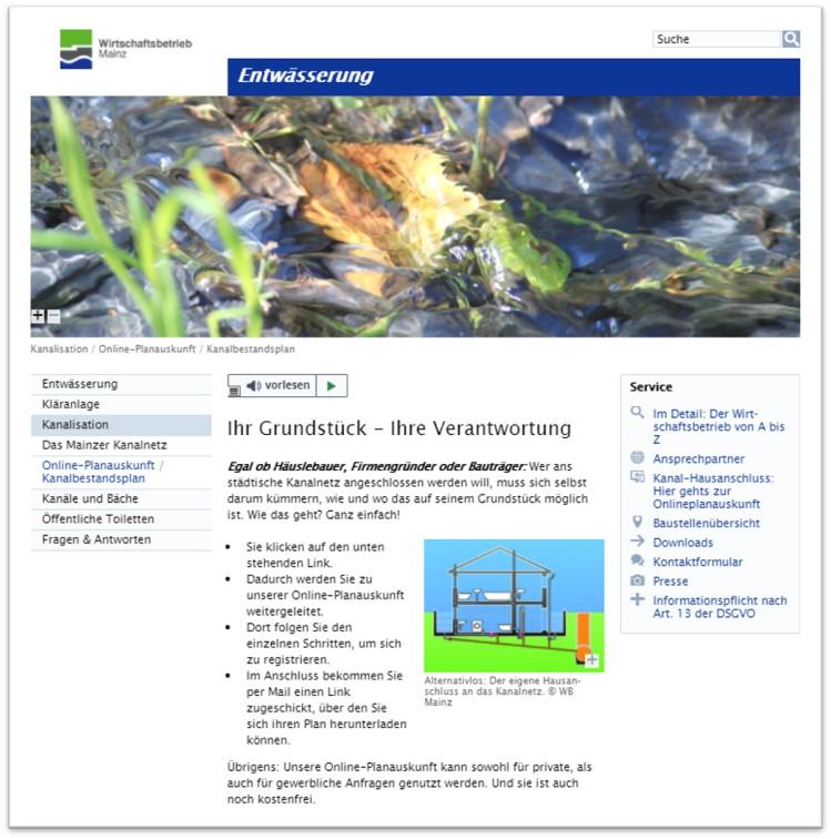 Diese Abbildung zeigt die Online-Planauskunft vom Wirtschaftsbetrieb Mainz.
